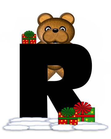 teddy bear christmas: The letter R, in the alphabet set Teddy Christmas, is black and sits on pile of snow.  Teddy Bear and presents decorate each letter.