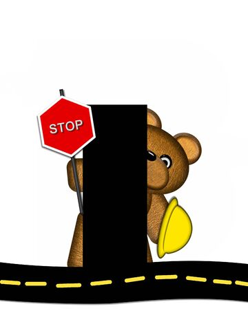 highway signs: The letter I, in the alphabet set Teddy Highway Work, is black and sits on black highway. Teddy bear, hard hat, and highway signs decorate letter. Stock Photo
