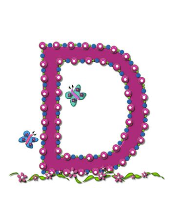 Letter D from Bead Alphabet is deep rose in color.  Letter is outlined completly in pink, blue and green beads and balls.