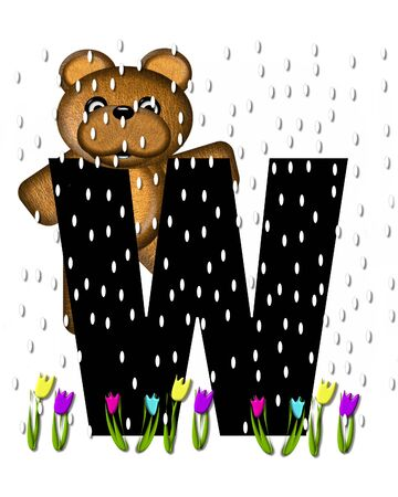 showers: The letter W, in the alphabet set Teddy April Showers, is black.  Brown teddy bear and flowers decorate letter.  Tulips bloom as April showers fall.