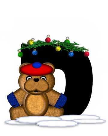teddy bear christmas: The letter D, in the alphabet set Teddy Christmas Boughs, is black and sits on pile of snow.  Teddy Bear wearing cap and mittens, decorates letter with Christmas boughs and ornaments.