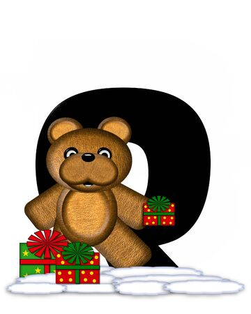 teddy bear christmas: The letter Q, in the alphabet set Teddy Christmas, is black and sits on pile of snow.  Teddy Bear and presents decorate each letter. Stock Photo