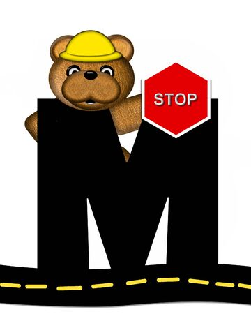 highway signs: The letter M, in the alphabet set Teddy Highway Work, is black and sits on black highway. Teddy bear, hard hat, and highway signs decorate letter.