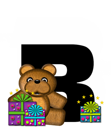 gift wrapped: The letter B, in the alphabet set Teddy Gifts Galore, is black.  Teddy bear, gift wrapped packages and stars decorate letter. Stock Photo