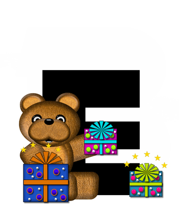gift wrapped: The letter E, in the alphabet set Teddy Gifts Galore, is black.  Teddy bear, gift wrapped packages and stars decorate letter. Stock Photo