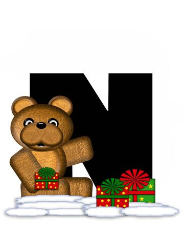 teddy bear christmas: The letter N, in the alphabet set Teddy Christmas, is black and sits on pile of snow.  Teddy Bear and presents decorate each letter. Stock Photo