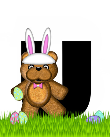 The letter U, in the alphabet set Teddy Easter, is black. Teddy wears an Easter Rabbit costume and hunts Easter Eggs hidden in the grass. Stock Photo