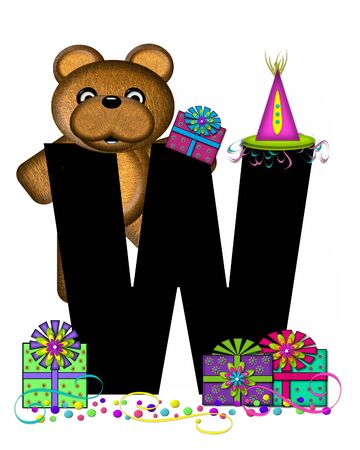 streamers: The letter W, in the alphabet set Teddy Birthday Surprise, is black.  Teddy bear, party hat, gifts and confetti decorate letter.