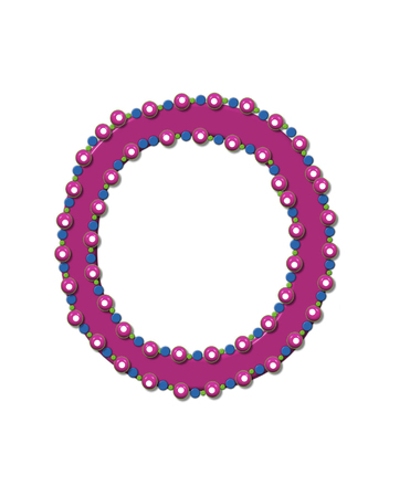 bead: Letter O from Bead Alphabet is deep rose in color.  Letter is outlined completly in pink, blue and green beads and balls.