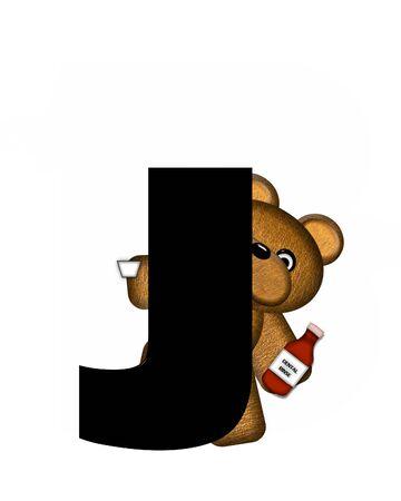 rinse: The letter J, in the alphabet set Teddy Dental Checkup, is black.  Teddy bear represents dentist holding dental rinse.