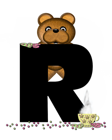 frosted: The letter R, in the alphabet set Teddy Tea Time, is black.  Teddy bear enjoys a cup of hot tea with heart shaped and frosted cookies.  Candy sprinkles cover floor.
