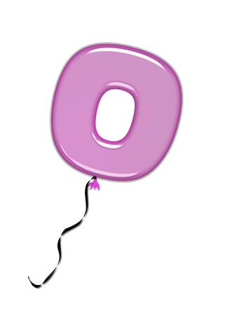 inflated: The letter O, in the alphabet set Balloon Jewels, resembles an inflated balloon tied at the knot with a black curly string.  Letters, in set, come in a mixture of colors and tilting angles.