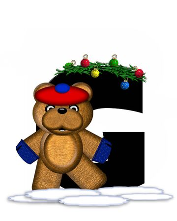 teddy bear christmas: The letter G, in the alphabet set Teddy Christmas Boughs, is black and sits on pile of snow.  Teddy Bear wearing cap and mittens, decorates letter with Christmas boughs and ornaments.