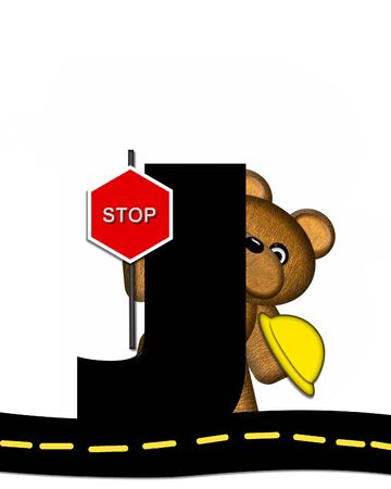 highway signs: The letter J, in the alphabet set Teddy Highway Work, is black and sits on black highway. Teddy bear, hard hat, and highway signs decorate letter. Stock Photo