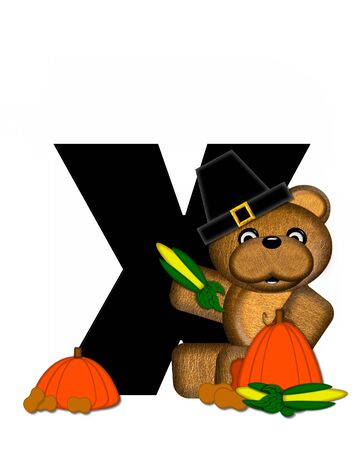 The letter X, in the alphabet set Teddy Thanksgiving, is black.  It is decorated with a cute brown teddy bear wearing a Pilgrims hat.  Pumpkin and harvest vegetables sit besides letter. Stock Photo