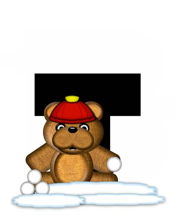 snow cap: The letter T, in the alphabet set Teddy Wintertime, is black. Teddy stands on snow making and throwing snowballs.  He is wearing a red cap.