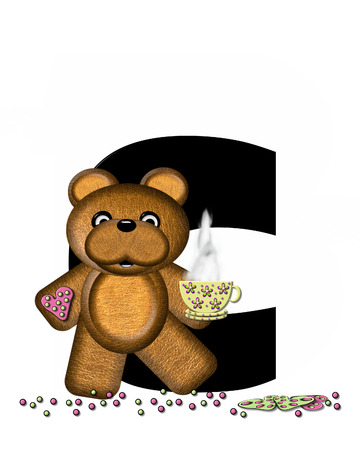 frosted: The letter C, in the alphabet set Teddy Tea Time, is black.  Teddy bear enjoys a cup of hot tea with heart shaped and frosted cookies.  Candy sprinkles cover floor.