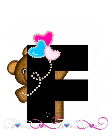 cutie: The letter F, in the alphabet set Teddy Valentines Cutie, is black.  Brown teddy bear holds heart shaped balloons in pink and blue.  String of pearls serve as string.