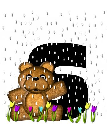 april showers: The letter S, in the alphabet set Teddy April Showers, is black.  Brown teddy bear and flowers decorate letter.  Tulips bloom as April showers fall.