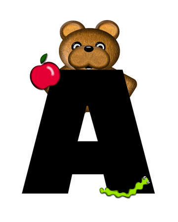 The letter A, in the alphabet set Teddy, is black with white background.  Borwn Teddy Bear decorates letter. Stock Photo