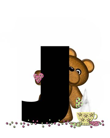 frosted: The letter J, in the alphabet set Teddy Tea Time, is black.  Teddy bear enjoys a cup of hot tea with heart shaped and frosted cookies.  Candy sprinkles cover floor.