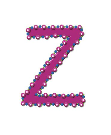 Letter Z from Bead Alphabet is deep rose in color.  Letter is outlined completly in pink, blue and green beads and balls. Stock Photo