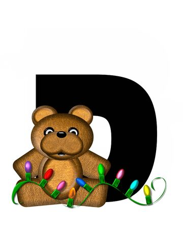 string of lights: The letter D, in the alphabet set Teddy Christmas Lights, is black. Teddy Bear holds a string of Christmas lights and decorates letter.