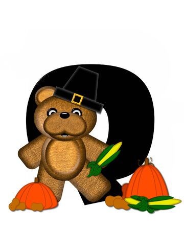 The letter O, in the alphabet set Teddy Thanksgiving, is black.  It is decorated with a cute brown teddy bear wearing a Pilgrims hat.  Pumpkin and harvest vegetables sit besides letter.