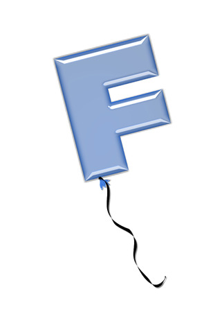 The letter F, in the alphabet set Balloon Jewels, resembles an inflated balloon tied at the knot with a black curly string.  Letters, in set, come in a mixture of colors and tilting angles. Imagens