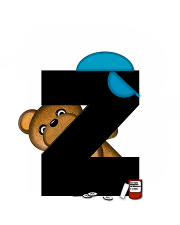 The letter Z, in the alphabet set Teddy Dental Checkup, is black.  Teddy bear wearing a dental mask and hat represents dentist holding various dental tools.