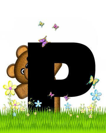 grassy field: The letter P, in the alphabet set Teddy Butterfly Field, is black.  Teddy bear chases colorful butterflies across a grassy field with wildflowers.
