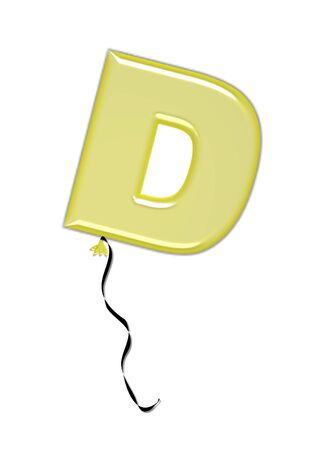 The letter D, in the alphabet set Balloon Jewels, resembles an inflated balloon tied at the knot with a black curly string.  Letters, in set, come in a mixture of colors and tilting angles. Stock Photo