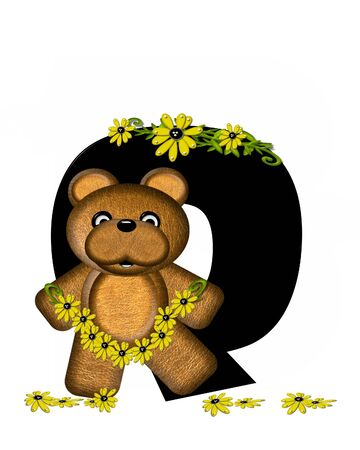The letter Q, in the alphabet set Teddy Making Daisy Chain, is black.  Teddy bear gathers daisies to make yellow daisy chains.