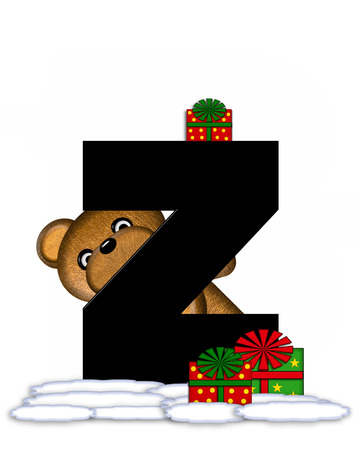 teddy bear christmas: The letter Z, in the alphabet set Teddy Christmas, is black and sits on pile of snow.  Teddy Bear and presents decorate each letter.