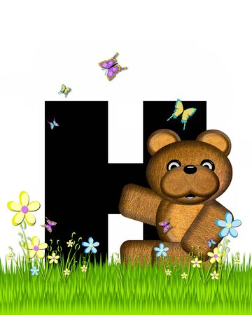 grassy field: The letter H, in the alphabet set Teddy Butterfly Field, is black.  Teddy bear chases colorful butterflies across a grassy field with wildflowers.