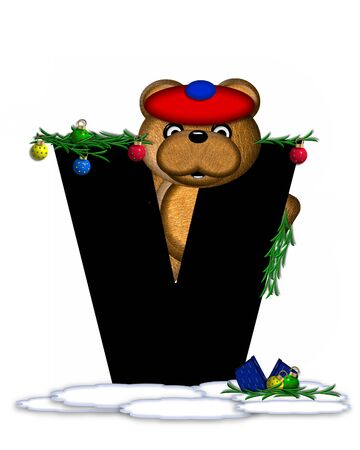 boughs: The letter V, in the alphabet set Teddy Christmas Boughs, is black and sits on pile of snow.  Teddy Bear wearing cap and mittens, decorates letter with Christmas boughs and ornaments. Stock Photo