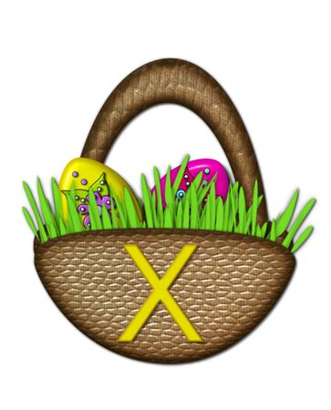 The letter X, in the alphabet set Easter Basket, sits on brown basket with handle.  Colorful Easter eggs sit in lush, green grass inside basket. Stock Photo