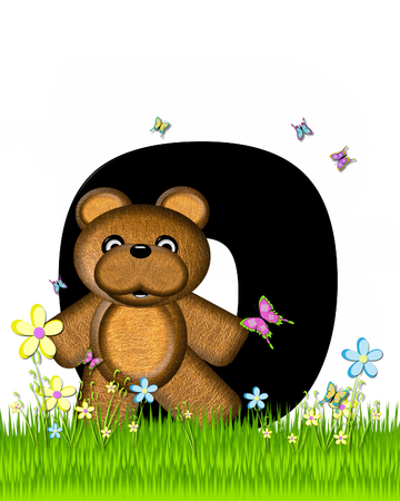 grassy field: The letter O, in the alphabet set Teddy Butterfly Field, is black.  Teddy bear chases colorful butterflies across a grassy field with wildflowers. Stock Photo