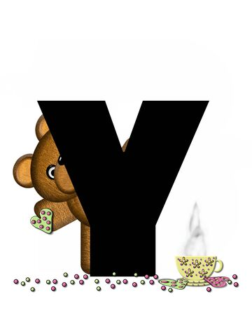 frosted: The letter Y, in the alphabet set Teddy Tea Time, is black.  Teddy bear enjoys a cup of hot tea with heart shaped and frosted cookies.  Candy sprinkles cover floor. Stock Photo