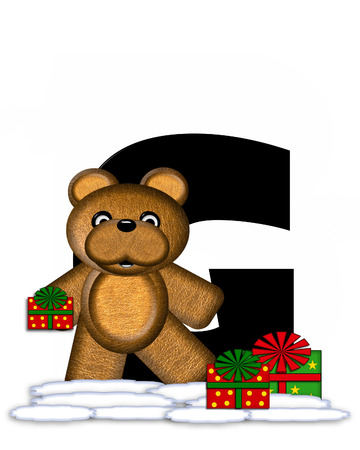teddy bear christmas: The letter G, in the alphabet set Teddy Christmas, is black and sits on pile of snow.  Teddy Bear and presents decorate each letter.