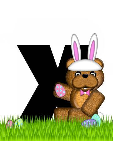The letter X, in the alphabet set Teddy Easter, is black. Teddy wears an Easter Rabbit costume and hunts Easter Eggs hidden in the grass.