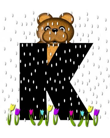 april showers: The letter K, in the alphabet set Teddy April Showers, is black.  Brown teddy bear and flowers decorate letter.  Tulips bloom as April showers fall. Stock Photo