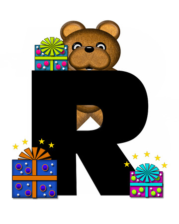 gift wrapped: The letter R, in the alphabet set Teddy Gifts Galore, is black.  Teddy bear, gift wrapped packages and stars decorate letter.