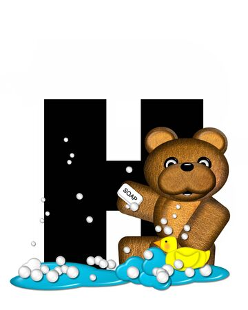 bath time: The letter H, in the alphabet set Teddy Bath Time, is black and sits on a pool of spilled bath water.  Brown teddy bear, bubbles and yellow duck decorate letter.