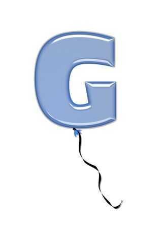 The letter G, in the alphabet set Balloon Jewels, resembles an inflated balloon tied at the knot with a black curly string.  Letters, in set, come in a mixture of colors and tilting angles. Stock Photo