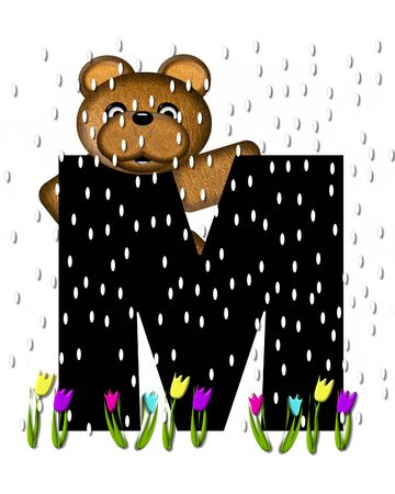 The letter M, in the alphabet set Teddy April Showers, is black.  Brown teddy bear and flowers decorate letter.  Tulips bloom as April showers fall.