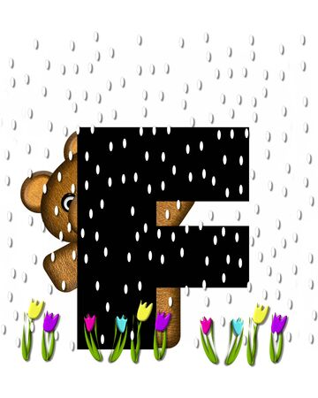 showers: The letter F, in the alphabet set Teddy April Showers, is black.  Brown teddy bear and flowers decorate letter.  Tulips bloom as April showers fall.