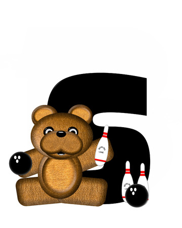 bear s: The letter S, in the alphabet set Teddy Bowling, is black.  Teddy bear, bowling ball and pins decorate letter.