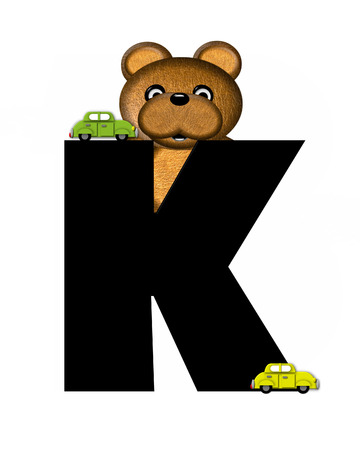 The letter K, in the alphabet set Teddy Driving Cars, is black. Teddy bear decorates letter and drives his toy cars.