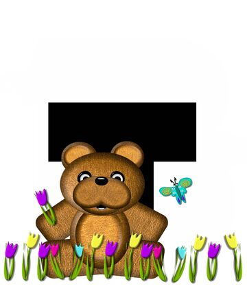 picking: The letter T, in the alphabet set Teddy Picking Flowers, is black.  Teddy bear picks tulips and butterfly flutters overhead.